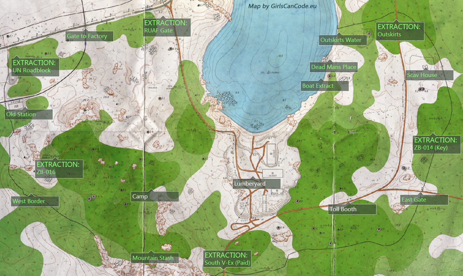 Escape from Tarkov Maps - Woods, Customs, Factory, Shoreline